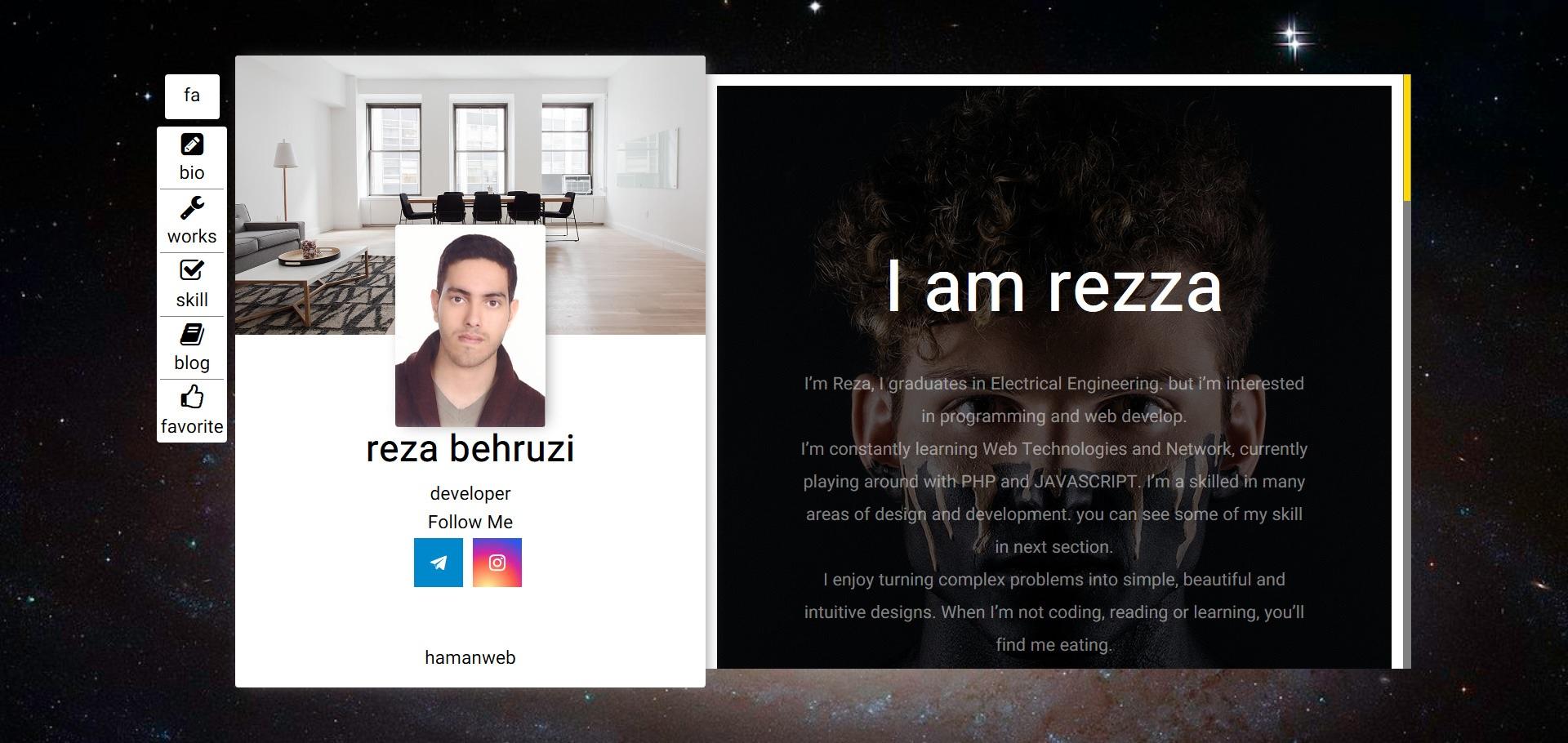 سایت شخصی portfolio کهکشان