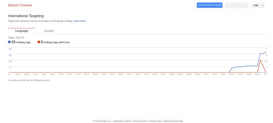 زبان در گوگل کنسول