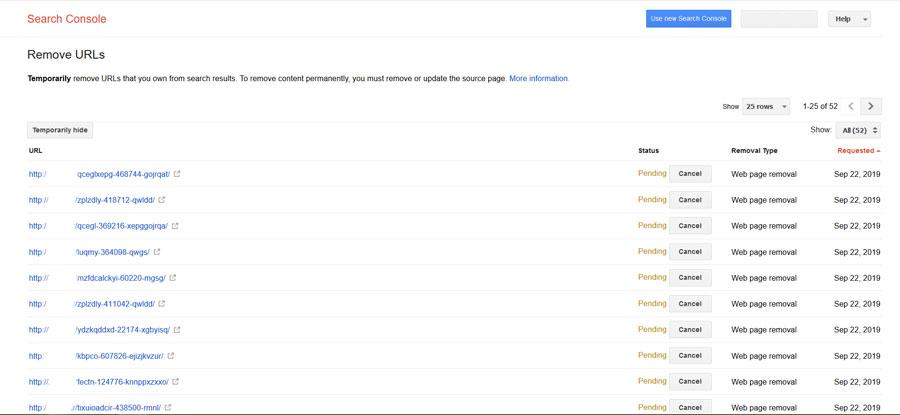 removal کنسول گوگل
