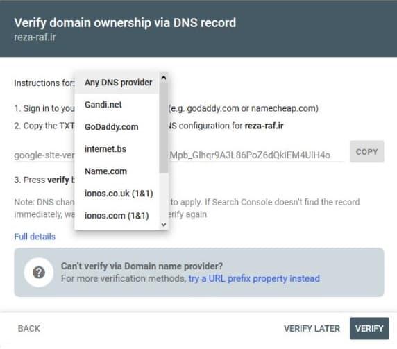 ثبت سایت در کنسول گوگل به روش domain